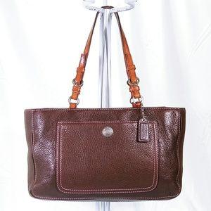 Coach Brown Pebbled Leather Tote Shoulder Bag